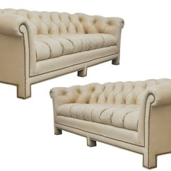 Leather Chesterfield Sofa Beige Steam Clean Upholstery 2018 Popular Light Tan Sofas