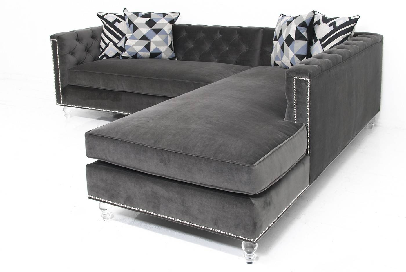 modern grey sofa with chaise western sofas tufted sectional beds design stunning