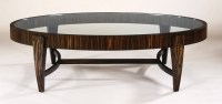 30 Collection of Oval Glass and Wood Coffee Tables
