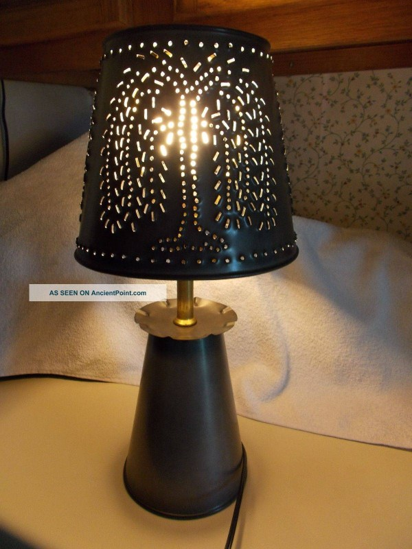 Primitive Punched Tin Lamp Shades