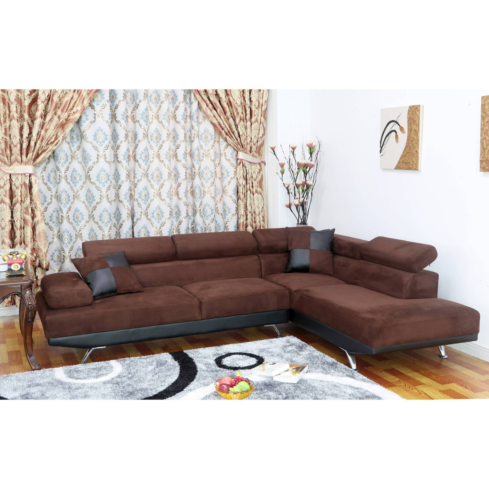 corey chocolate brown sectional sofa banquette the best microfiber sofas