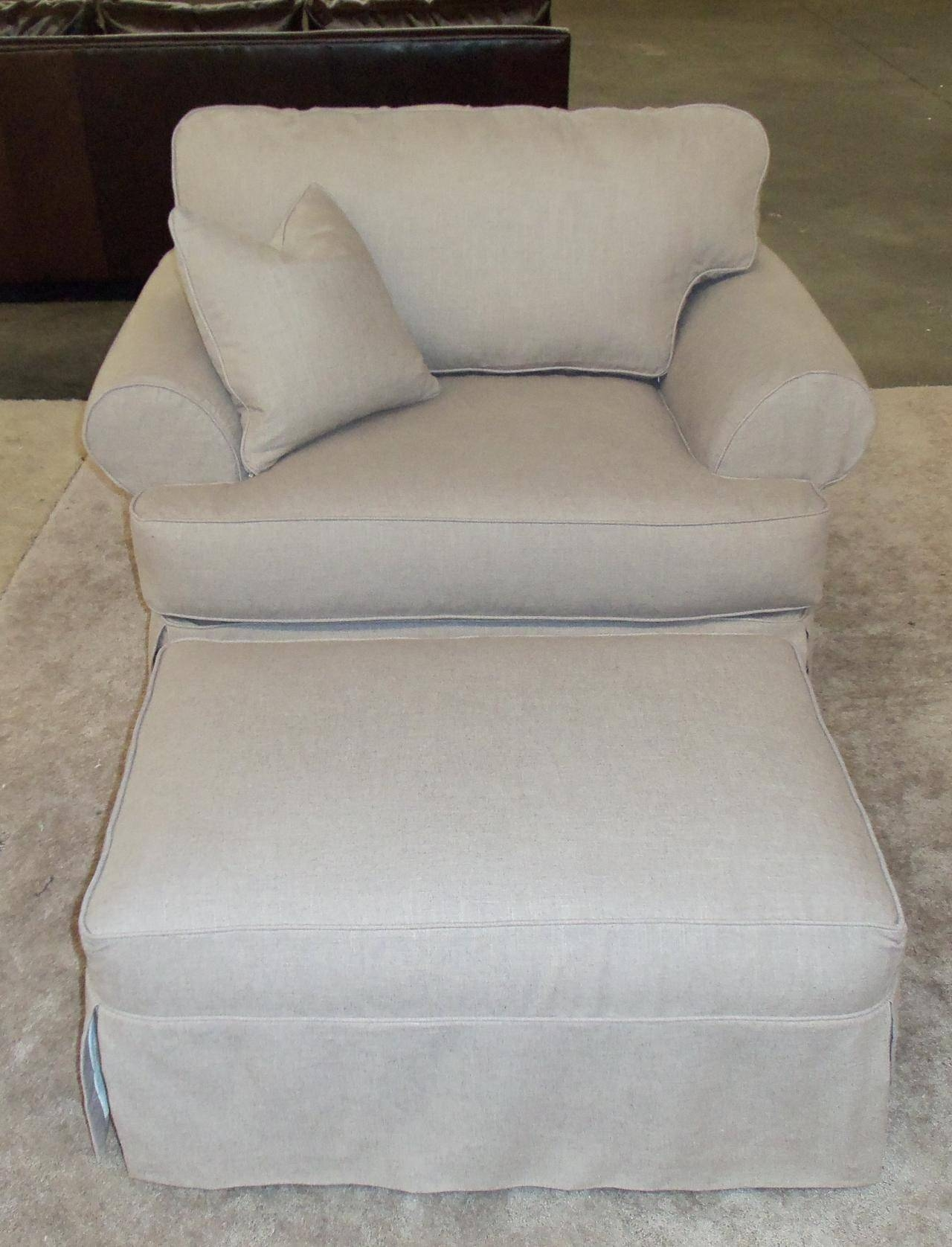 Slipcover For Oversized Chair And Ottoman View Gallery Of T Cushion Slipcovers For Large Sofas