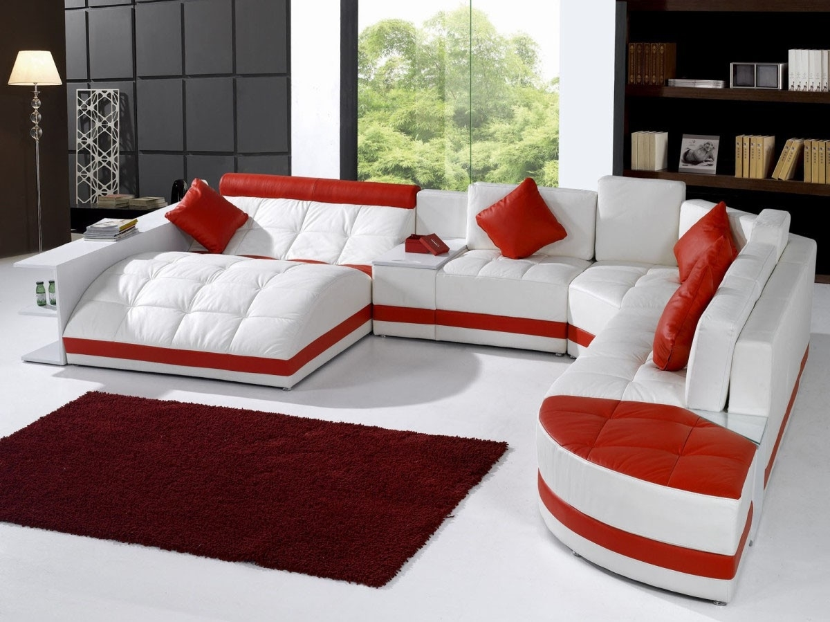Lazy folding sofa,modern fabric loveseat sofa,loveseat,modern futon bed, sleeper sofa solid wood frame legs for small apartment and living room us stock (red) 3.5 out of 5 stars. 15 Collection of Red Leather Sectional Sofas With Recliners