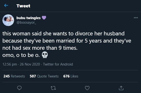 Wife moves to Divorce Husband because they've had sxx 9 times 'only' in 5years Marriage
