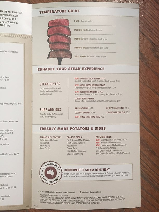 outback menu with prices