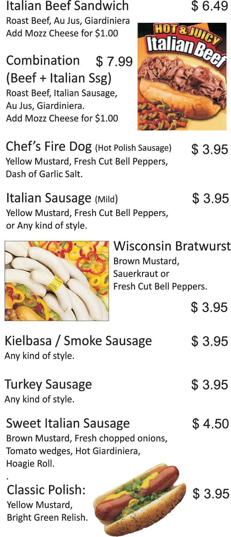 JKs Chicago Hot Dogs  Beef Sandwiches Restaurant Menu San Antonio