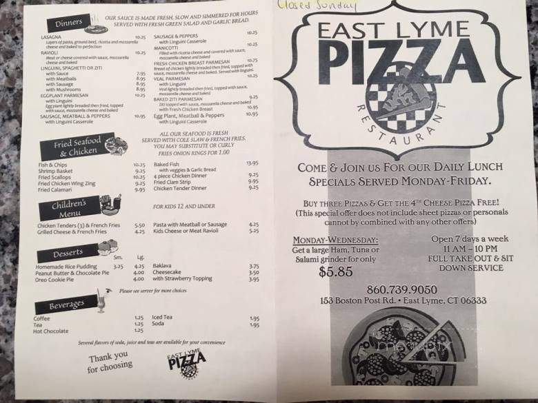 Menu Of East Lyme Pizza Restaurant In East Lyme Ct 06333
