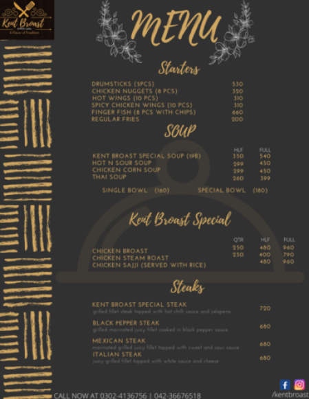 Kent Broast Lahore Menu