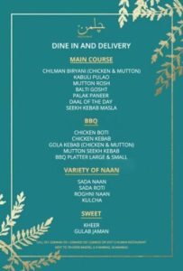 Chilman Restaurant Complete Menu