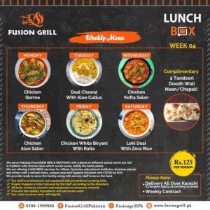 Fusion Grill Weekly Menu Card 5