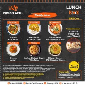 Fusion Grill Weekly Menu Card
