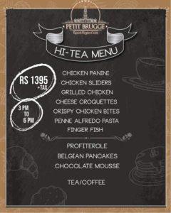 Hi-tea Menu Card of Petit Brugge