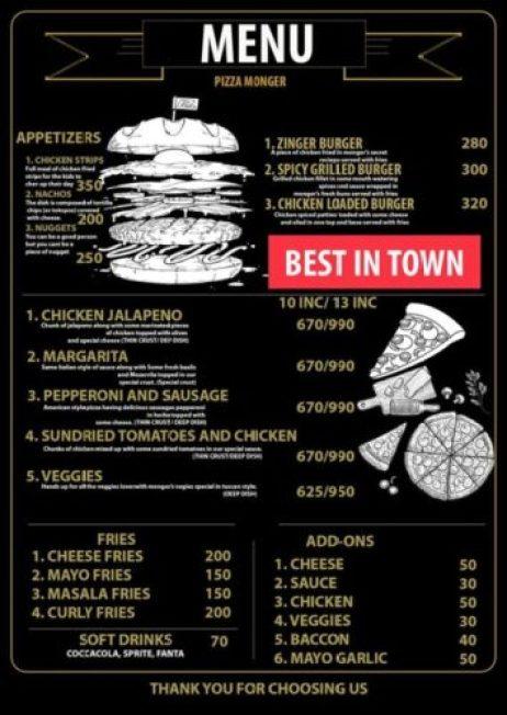 Pizza Monger Menu Islamabad 2