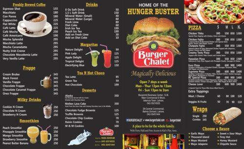 Burger Chalet Lahore Menu