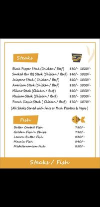Food Punch Menu Prices Steaks