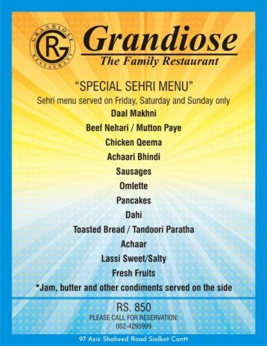 Grandiose Sehri buffet