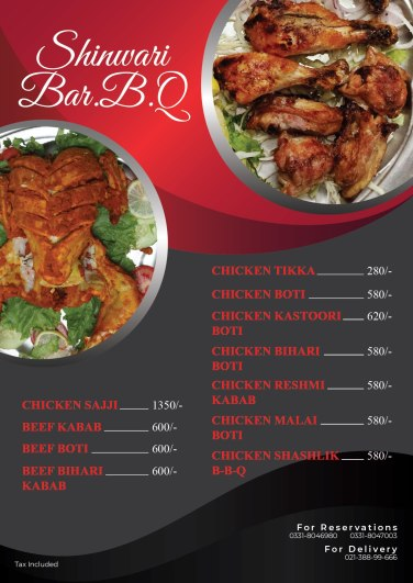 Shaheen Shinwari Highway BBQ Menu