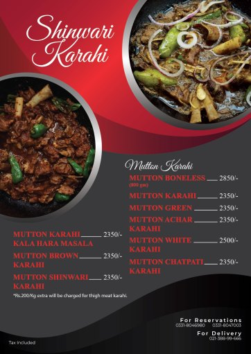 Shaheen Shinwari Highway Karahi Menu