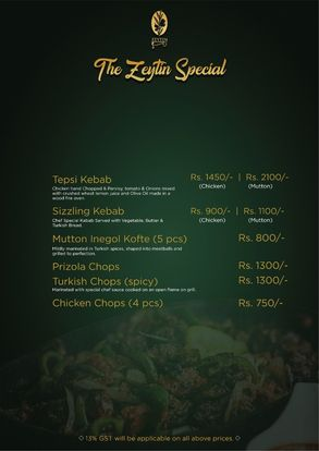 Zeytin Restaurant Menu Prices4