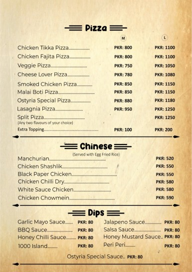 Cafe Ostyria Lahore Mall Road Menu