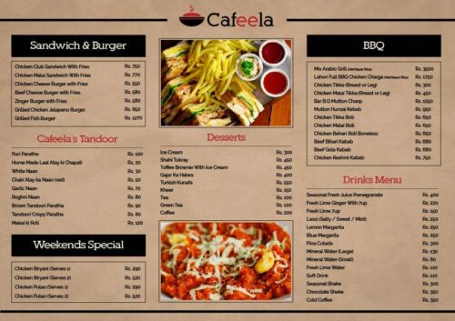 Cafeela Restaurant Menu Price