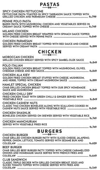 Hamlet BBQ Burgers Menu