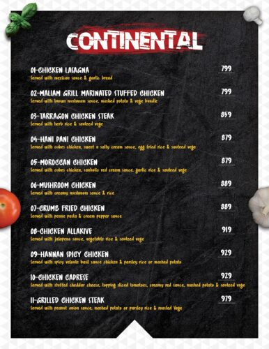 Masoom Café Menu Prices continental