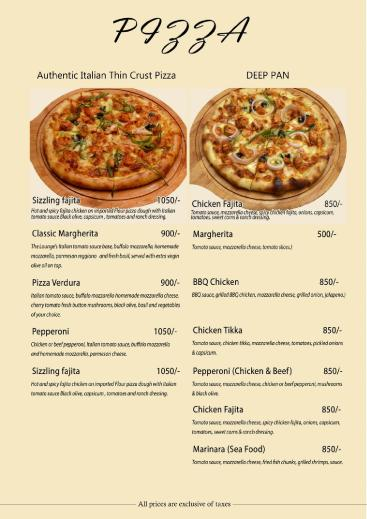 The Lounge By Attraction Pizza Menu