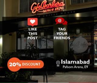 Cafe Barbera Islamabad Deal