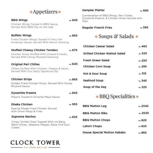 Clock Tower Menu