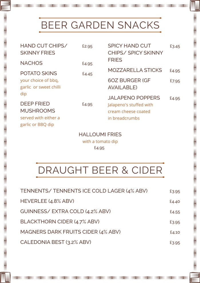 A list of commands or options from which you can choose. Beer Garden Menu Abbotsford Hotel