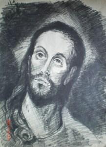 Иисус Христос рисунок Менякина репродукция-Эль-Греко
