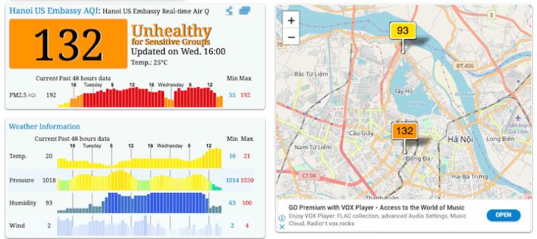 Đo mức độ ô nhiễm không khí online