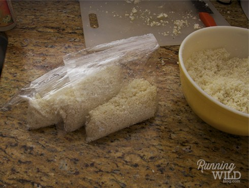 Cauliflower rice in plastic bags