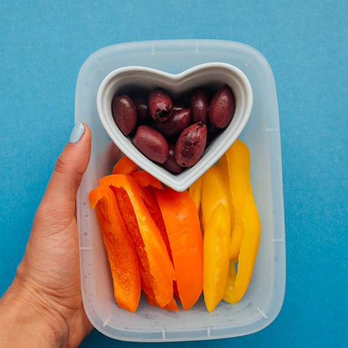 Healthy Snack Ideas: Olives + Bell Peppers