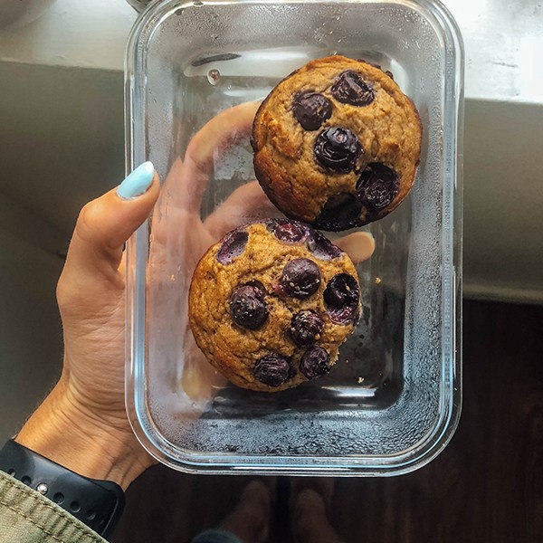 Paleo Blueberry Muffins - Muffins in Glass Tupperware