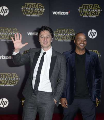 """Actors Braff and Faison arrive at the premiere of """"Star Wars: The Force Awakens"""" in Hollywood"""