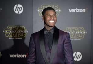 """Actor John Boyega arrives at the premiere of """"Star Wars: The Force Awakens"""" in Hollywood"""