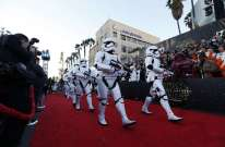 """Storm Troopers march in at the world premiere of the film """"Star Wars: The Force Awakens"""" in Hollywood"""