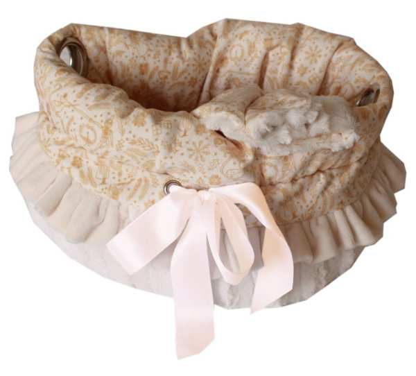 Cream Holiday Whimsy Reversible Snuggle Bugs Pet Bed, Bag, and Car Seat All-in-One