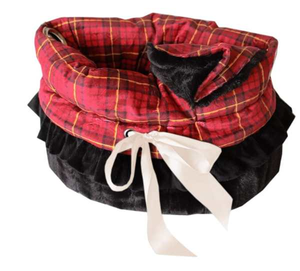 Red Plaid Reversible Snuggle Bugs Pet Bed, Bag, and Car Seat All-in-One