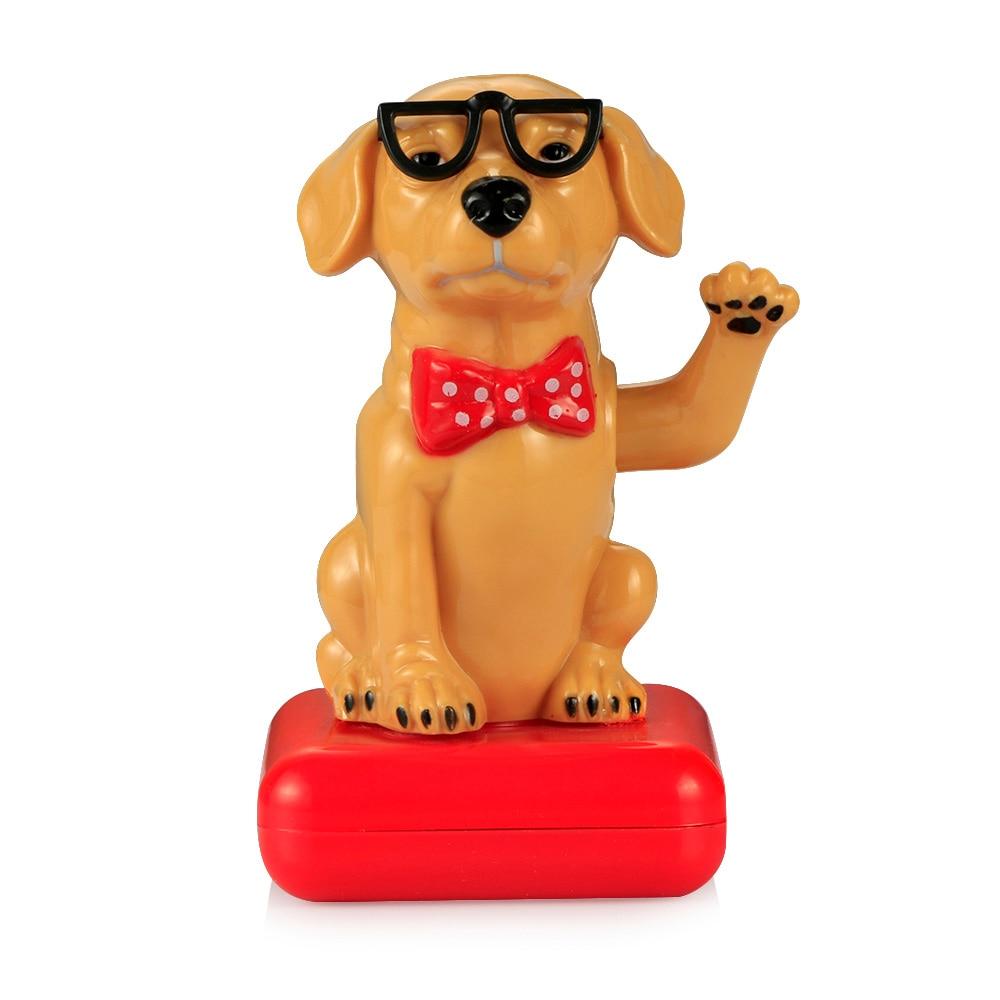 רכב קישוט ABS שמש מופעל רועד נדנדה ראש כלב רכב קישוט לוח מחוונים צעצועי אוטומטי דקורטיבי כלב בובת דקור מתנה