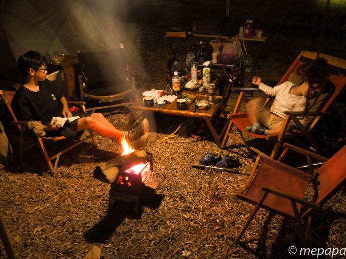白馬で避暑キャンプ焚き火