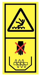 Danger de chute et d'entrainement par élément rotatif