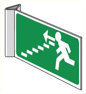 Drapeaux vers escalier descendant droite