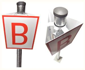 """Pictogramme trois faces présence d'un hydrant sous sol en aluminium 200x250mm pour placement sur poteau 51mm. ! """"H"""" sur pictogramme"""
