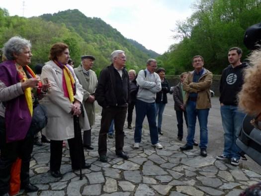 Devant le Pozo Fortuna avec Roberto Iglesias et Diego Fernandez Garcia, concejal de memoria historica de Mieres