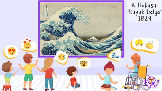 Büyük Dalga, hokusai, çocuklar, çocuklar için sanat, sanat eğitimi, kavram, çocuk, meraklı turşu, meraklitursu, irem sunar özat,