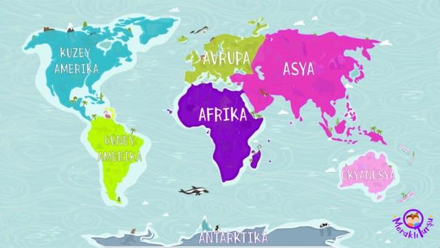 gezegenimizi tanıyalım, kıtalar, dünyada nerede, dünya, kıta nedir, anakara, ne demek, harita, meraklı turşu,