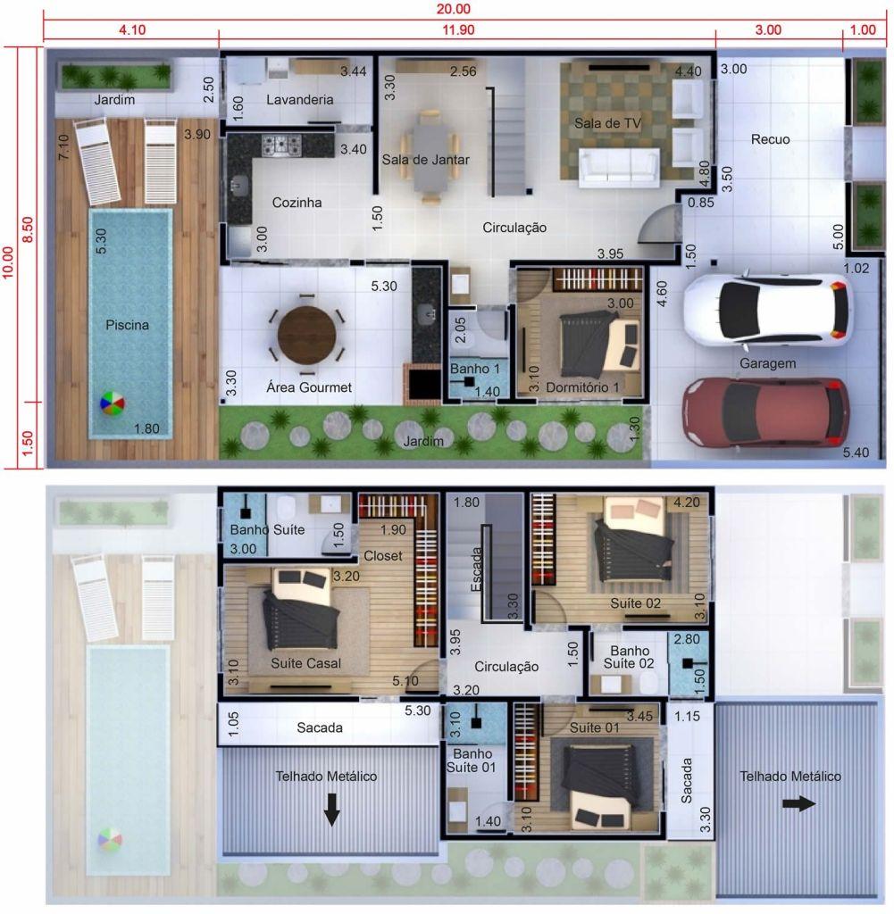 Adosado Con 4 Dormitorios   Planos De Casas  Modelos De
